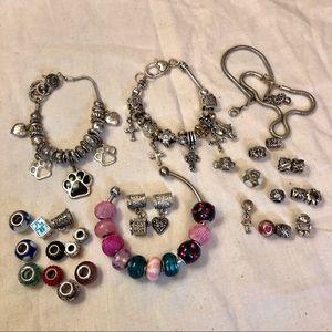 Jewelry - LOT Bundle Euro Sliding Charms Bracelets Glass
